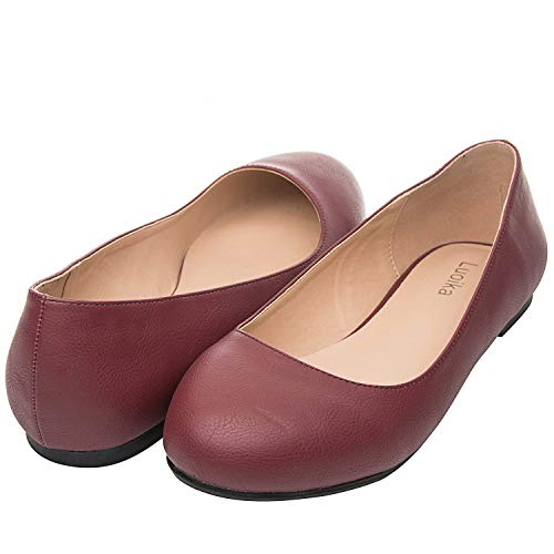 Luoika Women's Wide Width Flat Shoes - Comfortable Slip On Round Toe Ballet Flats. (180110 Burgundy PU,7WW) ()