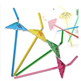 50 Pack Party tonight Cocktail Party Umbrella Tropical Drink Straws - Great for Parties, Drinks, Cocktails & More. Mix Colored Multipack. Bring More Fun to Your Drinks (50, Multi)