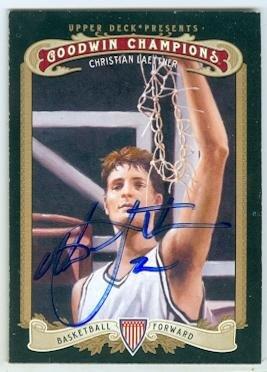 (Christian Laettner autographed basketball card (Duke Blue Devils NCAA Final Four Champions) 2012 Upper Deck Goodwins)