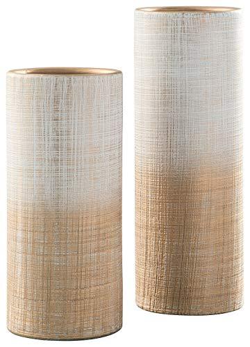 Ashley Furniture Signature Design - Dorotea Vase - Set of 2 - Contemporary - Ceramic - Gold/White