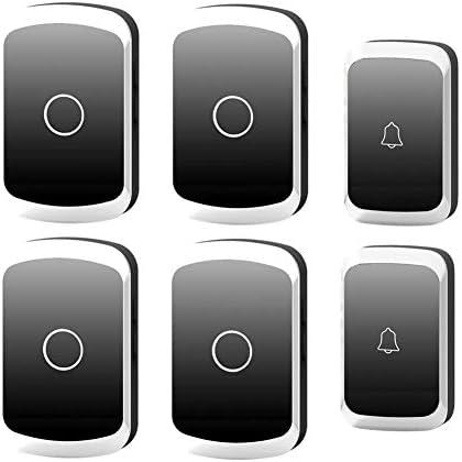 ワイヤレスドアベル、コードレスバッテリー式防水ドアチャイムキット、2プッシュボタントランスミッター+4 プラグインレシーバー、300m超長距離、36着メロ、4ボリュームレベル,黒