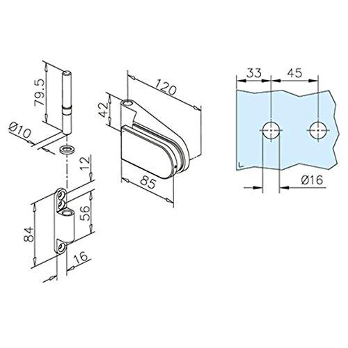 Glast/ür-Scharnier f/ür Glas-Holzzarge-Montage f/ür Glasst/ärke 8-10 mm