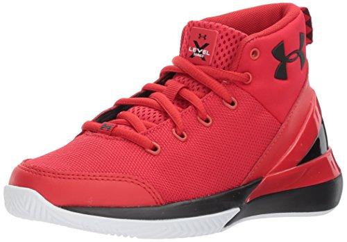Under Armour Boys' Pre School X Level Ninja Basketball Shoe, Red (600)/White, 1 (Kids Basketball Shoes Size 1)