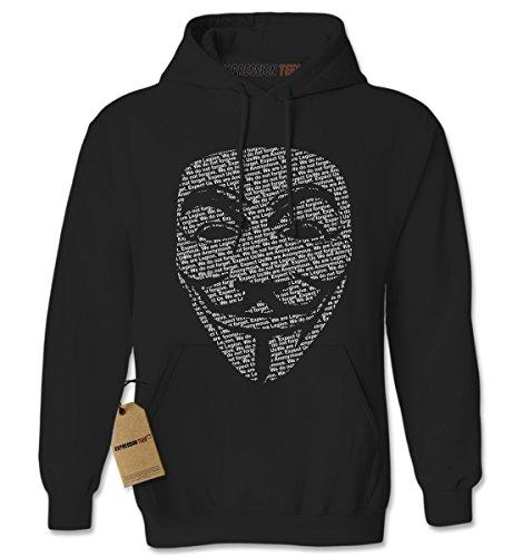 Hoodie V For Vendetta Mask Adult X-Large - Black Vendetta