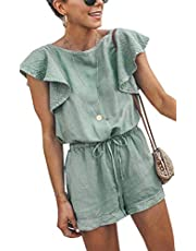 Angashion Women's Loose Casual Butterfly Sleeve Short Jumpsuits Ruffles Hollow Back Romper with Belt Pink M
