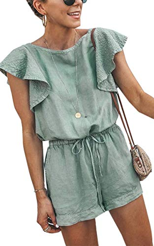 - Angashion Women's Loose Casual Ruffle Cap Sleeve Short Jumpsuits Hollow Back Romper with Belt Green L