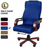 CAVEEN Office Chair Cover Computer Chair Universal Boss Chair Cover Modern Simplism Style High Back Large Size (Chair not Included) Blue Large