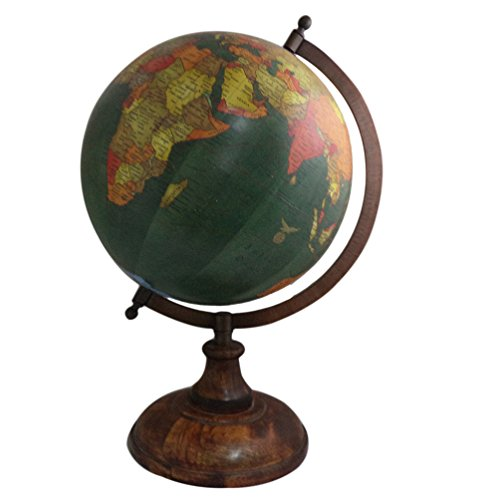- Imlistreet Handmade Wooden Stand Word Map Antique Decorative Plastic Globe 14