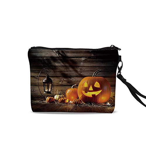 Halloween Cosmetic Bag Pouch,Grinning Expression Pumpkin Country House Squash Bunch on Wooden Planks Image For Women Girl,9