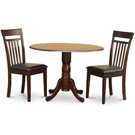 East West Furniture DLCA3 MAH LC 3 Piece Kitchen Nook Dining Table Set