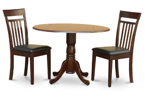 East West Furniture DLCA3-MAH-LC 3 PC Kitchen Nook Set-Drop Leaf Table and 2 Dining Chairs, Mahogany Finish
