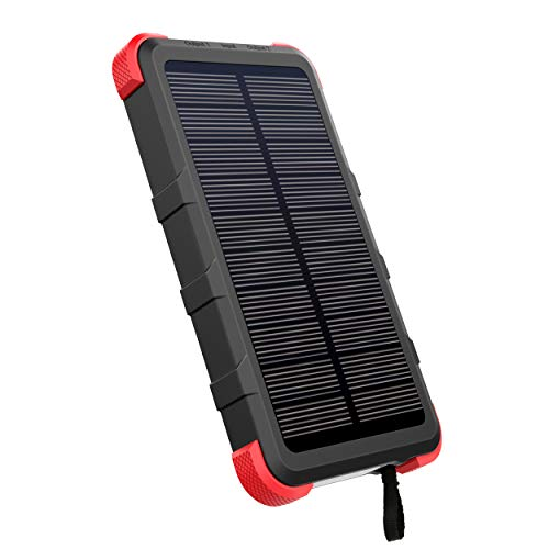 [Upgrade] OUTXE USB C Solar Charger 10000mAh with Flashlight IP67 Waterproof Solar Power Bank Rugged for Hiking Camping Backpacking (Best Cell Phone For Backpacking)
