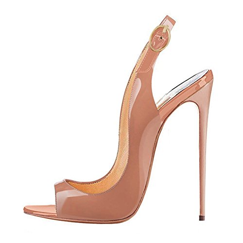 Tacco Wedding Centimetri Sandals Dress Patent 12 Pumps Slingback Pompe Punta Eldof 12cm Toe Womens Sandali High Shoes Leather Aperta Womens Scarpe Alto Beige Open Classico Beige Heel Sera In Da Vernice Classic Matrimonio Eldof Slingback Ht01xqt