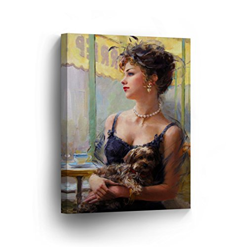 Blue Lady Painting - Pretty Vintage Lady in Blue Fancy with her Dog in a Coffee Shop Oil Painting CANVAS PRINT Decorative Art Wall Home Artwork / Wrapped Stretched Ready to Hang -%100 Handmade in the USA _CA