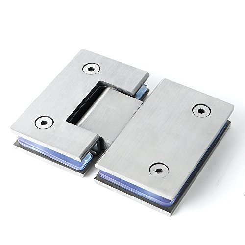 Alise Heavy Duty 180 Degree Glass Door Cupboard Showcase Cabinet Clamp Glass Shower Doors Hinge Replacement Parts,Stainless Steel Brushed Finish