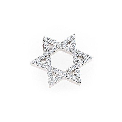- Ladies 14K Natural Diamond Star Of David Pendant (White Gold)