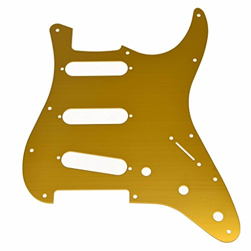 KAISH 11 Hole ST Strat SSS Metal Guitar Pickguard Aluminum Scrach Plate for USA/Mexican Fender Stratocaster Gold