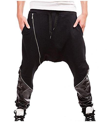 Vska Men Drawstring Hip Hop Leather Splice Harem Pants Zippe