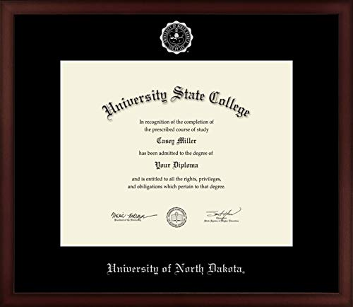 University of North Dakota - Officially Licensed - PhD - Silver Embossed Diploma Frame - Diploma Size 15