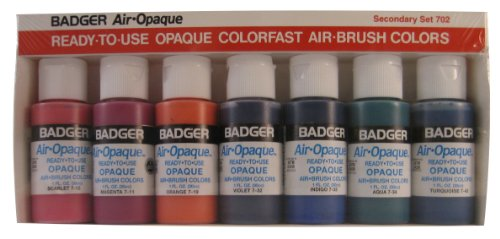 - Badger Air-Brush Company Air-Opaque Water Based Acrylic Paint Secondary Set, 1-Ounce Each, Set of 7
