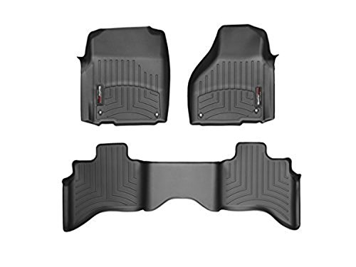 2012-2105 Dodge Ram 1500-Weathertech Floor Liners-Full Set (Includes 1st and 2nd Row)-Quad Cab; Does Not Fit Models with Floor Mounted 4x4 Shifter; Driver and Passenger Side Floor Hooks-Black (Rear Weathertech Floor 1500)