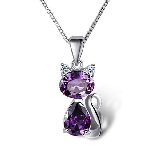 DreamsEden 18'' Silver Box Chain Women's Amethyst Cat Pendant Necklace, Purple (Gift Box & Greeting Card)