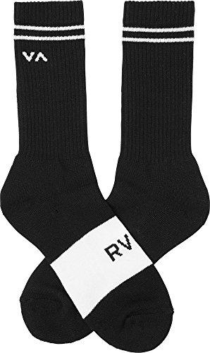 RVCA Men's Basic Block Crew Socks Black White One Size