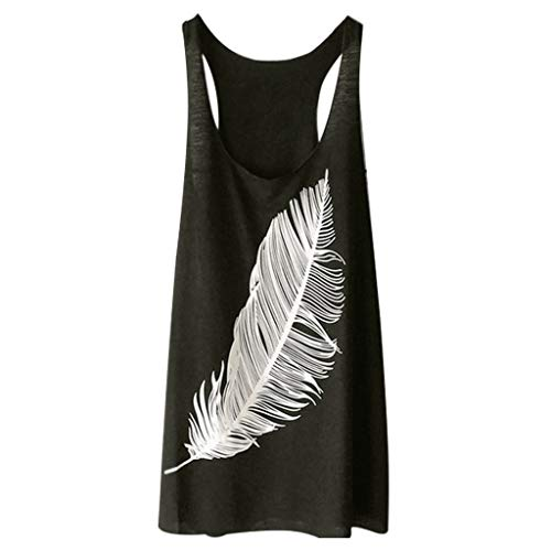 Women's Summer Vest Tops,LuluZanm Sale Ladies Feather Print Soft Fashion Camisole Long Loose Sexy Tank Tops Army Green