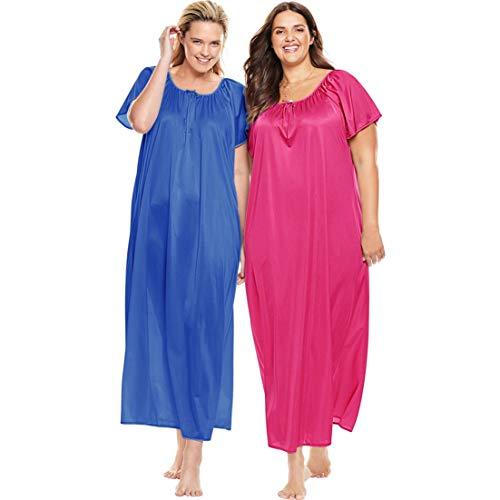 Only Necessities Women's Plus Size 2-Pack Long Nightgown Set - True Blue Raspberry Sorbet, L (Nylon Nightie)