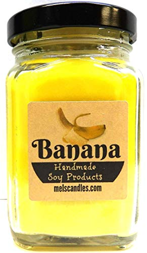 Banana 6oz Victorian Square Glass Jar Soy Candle - Made with Essential Oil Sophisticated and Timeless Wholesale Candles ()