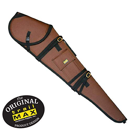 Saddle Rifle Scabbard - TrailMax Guardian Rifle Scabbard, Gun Case, Accommodates 30 inch Barrel & 56mm Scope with 1 inch Turrets, Secure on a Horse or ATV, Water Resistant 600 Denier Poly Shell, Brown