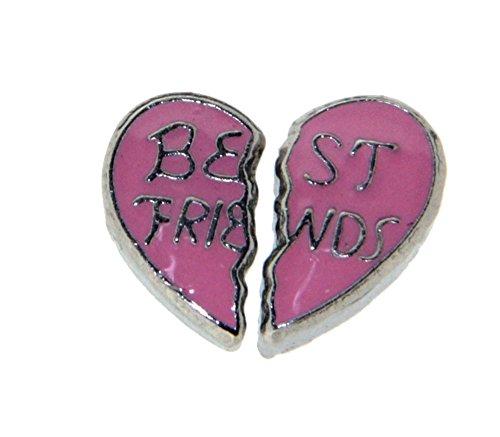 Best Friends in Pink Heart Double Floating Locket Charm (Double Heart Floating)