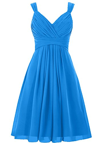 Night Moves Prom Gowns (H.S.D Women's V Neck Straps Chiffon Bridesmaid Dress Short Pleated Prom Gown)