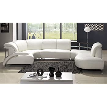 Contemporary Plan Modern White Wrap Around Design Leather Sectional Sofa