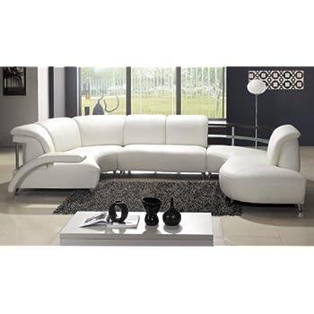 Contemporary Plan Modern White Wrap Around Design Leather Sectional Sofa