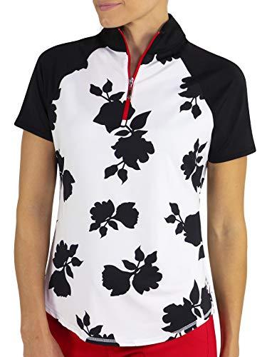 Jofit Short Sleeve Raglan Mock- Prosecco Floral Print-XXL