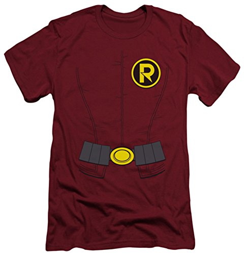 [Batman Men's New Robin Costume Slim Fit T-shirt X-Large Cardinal] (1960s Batman And Robin Costumes)