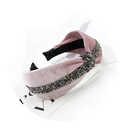 NDJqer 1Pcs Boutique Diamond Gold Velvet Knot Hairband Women Girl Hair Head Hoop Band For Women Headdress Headwear ()