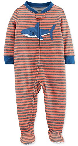 Carter's Baby Boys' Cotton Zip-Up Sleep N Play (24 Months, Shark/Orange Stripe) -