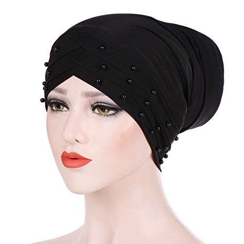 Euone  Christmas Clearance , Women Beading India Hat Muslim Ruffle Cancer Chemo Beanie Scarf Turban Wrap Cap (Black) (Beading Curtain)