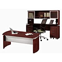 Mayline Executive Office W/Hutch 63W X 102D X 48H One File/File Drawer Mobile Pedestal & One Box/Box/File Mobile Pedestal - Mahogany