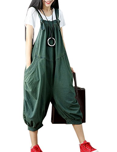 Cotton Pants Cropped (Flygo Women's Loose Baggy Cotton Wide Leg Jumpsuit Rompers Overalls Harem Pants (One Size, Army Green))
