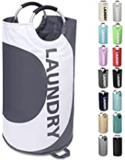 Large Laundry Basket Collapsible Laundry Hamper Tall Clothes Baskets Folding Washing Bin Foldable Fabric Hamper Bags for Bedroom, Laundry Room, Closet, Bathroom, College