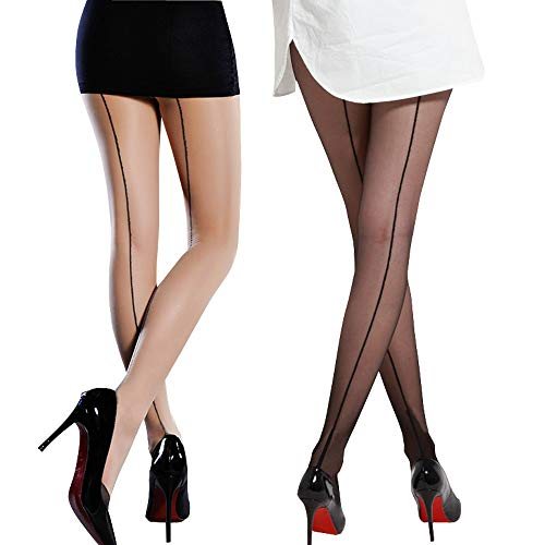 Value Package!2 Pack Sexy Sheer Stretchy Fashion Pantyhose Stockings Come With Pretty Iron Box (Back Seam)