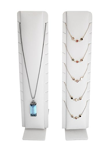 Necklace Jewelry Display with Adjustable Stand (White Faux Leatherette)