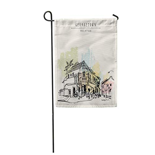 Tarolo Decoration Flag Cozy Eclectic Colonial Building Corner Restaurant in Old Historical Street Georgetown Penang Malaysia Southeast Asia Thick Fabric Double Sided Home Garden Flag 12
