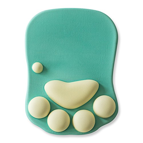 Cat Paw Mouse Pad with Wrist Support Soft Silicone Wrist Rests Wrist Cushion Comfort Mouse Pad Computer Mouse Mat Desk Decor Green(10.7x7.8x0.9) (Green)