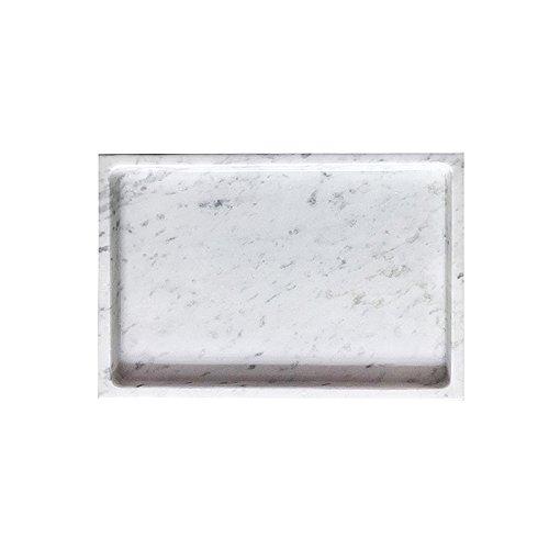 MEDA Blooms White Rectangular Marble Tabletop Tray, Vanity Kitchen Bathroom Storage Organizer