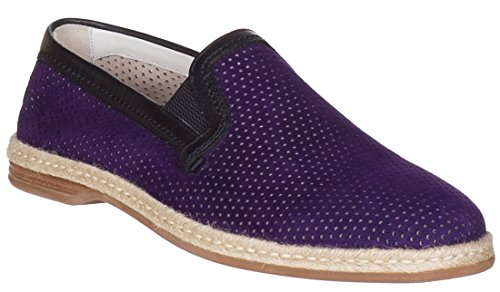 Dolce & Gabbana Men's Purple Suede Perforated Loafers Slip On Flats Shoes, Purple, 8.5