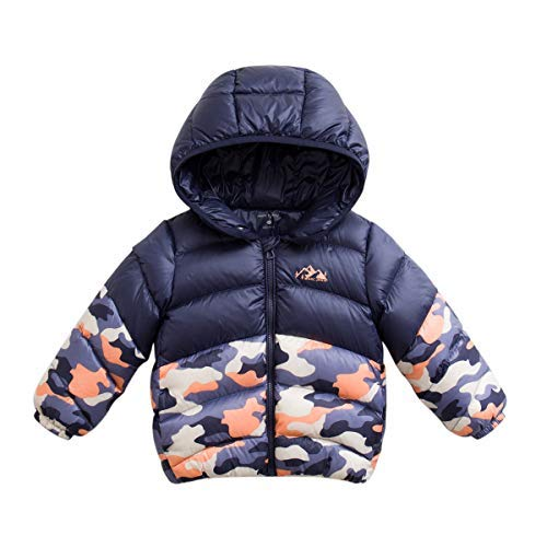 28413b1efd1c1 marc janie Boys' Lightweight Packable Camouflage Color Block Down Puffer  Jacket 3 Years Blue Orange